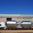 Fertiliser silos loaded on a truck